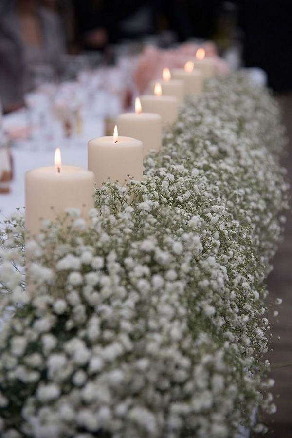 baby's breath and candles wedding centerpiece ideas