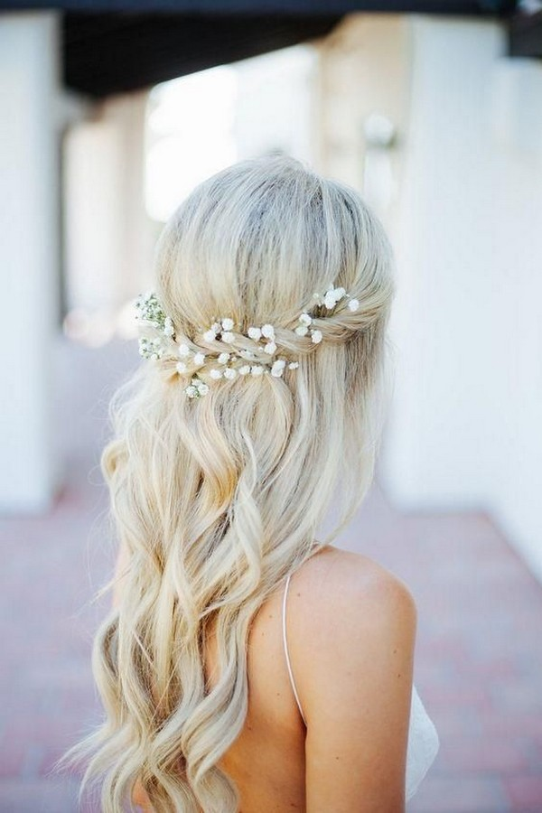 baby's breath decorated wedding hairstyle