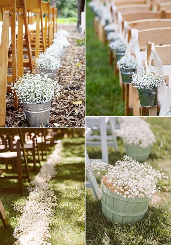 baby's breath outdoor wedding aisle decoration ideas