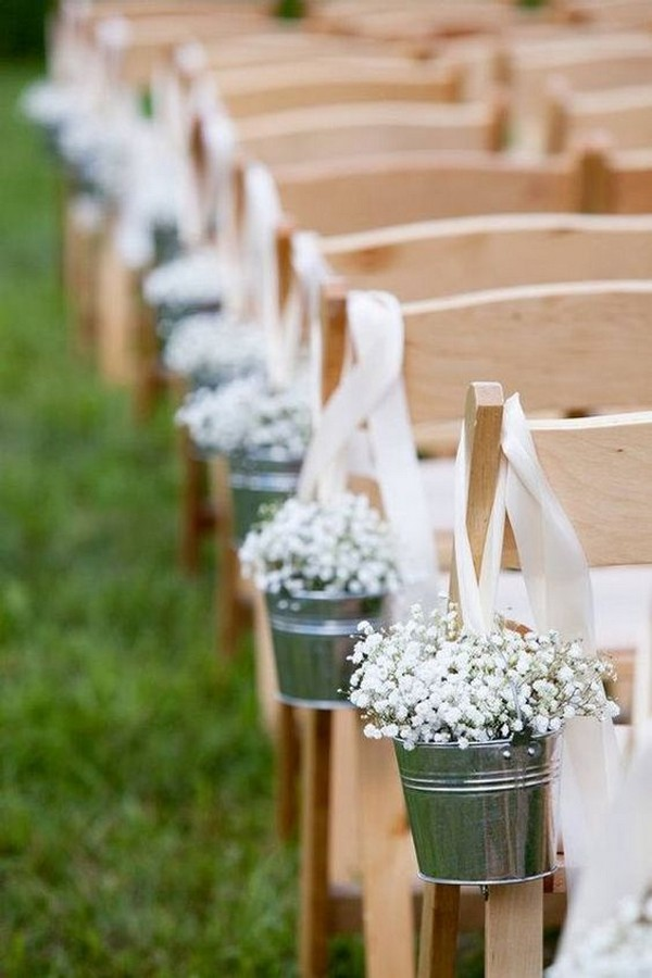 baby's breath outdoor wedding ceremony decoration ideas