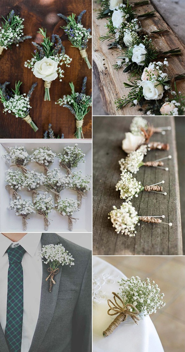 baby's breath wedding boutonnieres