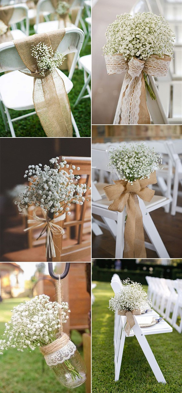 baby's breath wedding ceremony chair decoration ideas