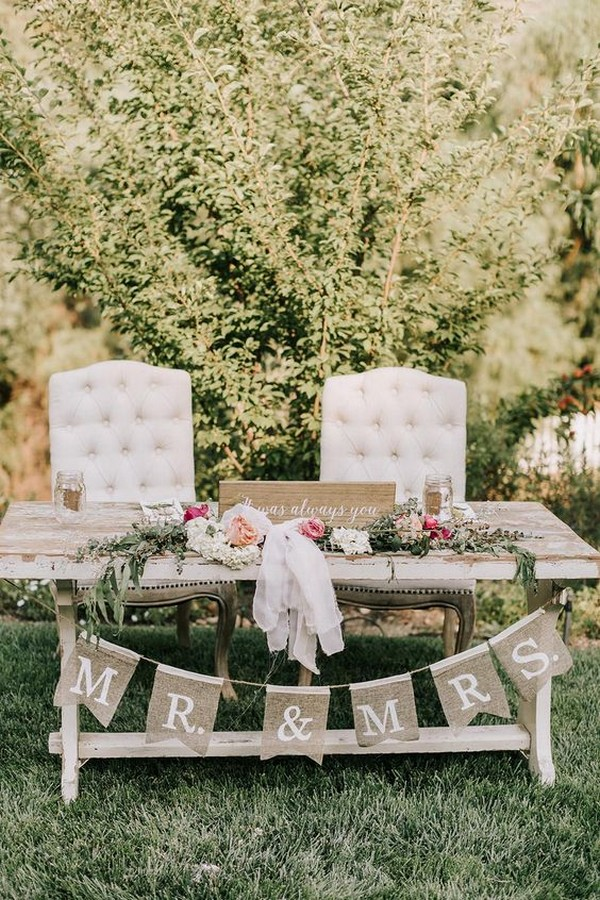 backyard rustic wedding table decoration ideas