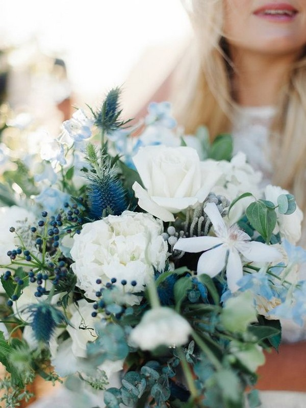blue and green wedding bouquet ideas