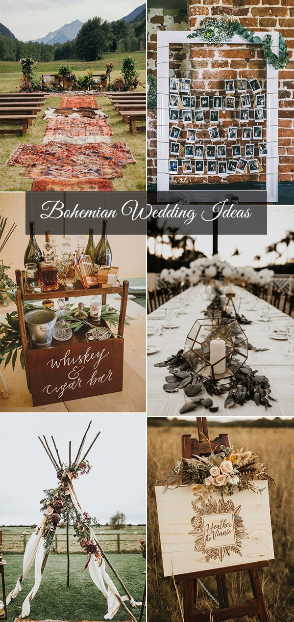 bohemian inspired outdoor wedding decoration ideas