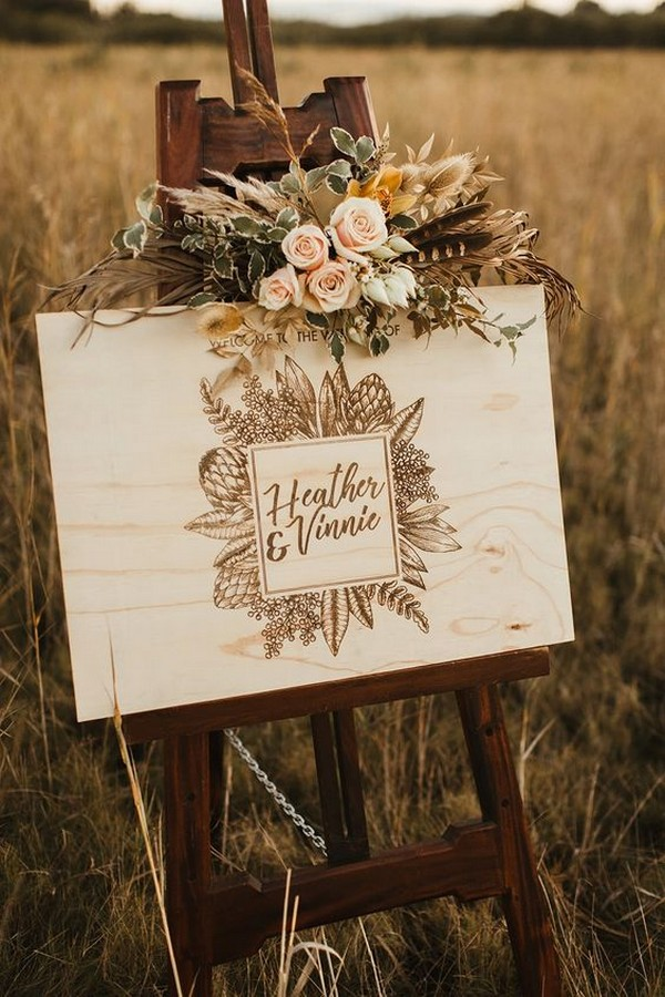 bohemian laser cut timber wedding welcome sign