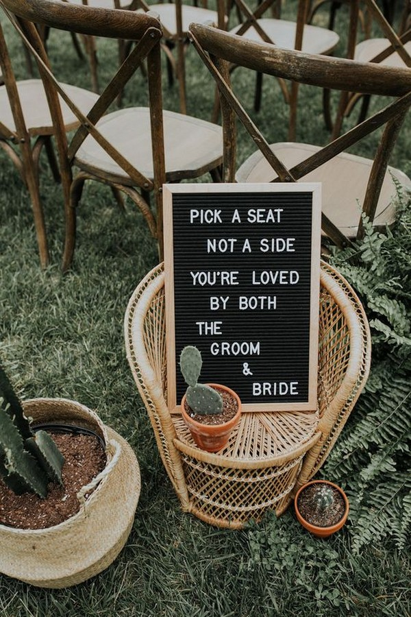boho chic ceremony wedding sign ideas
