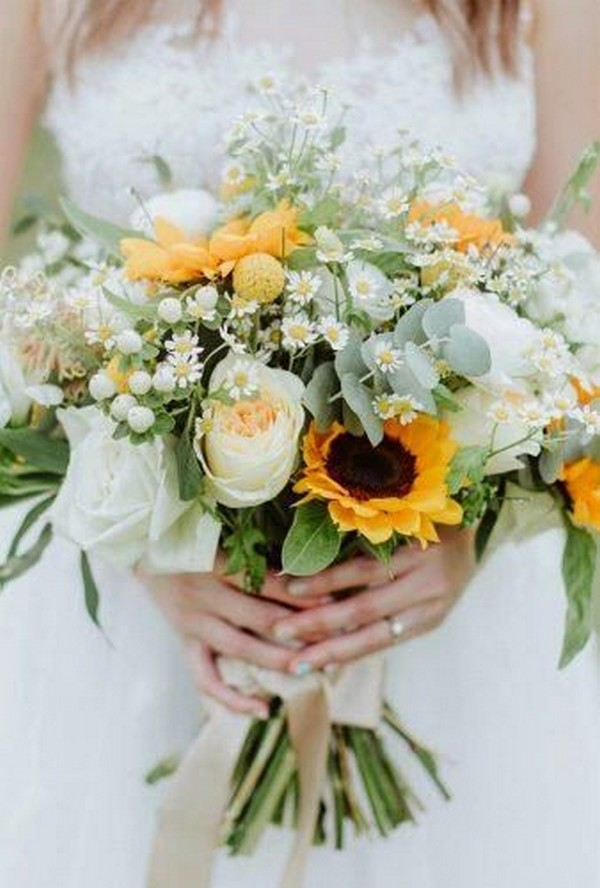 bright wedding bouquet ideas with sunflowers