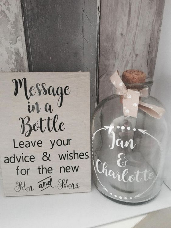 budget friendly DIY wedding ideas message in a bottle