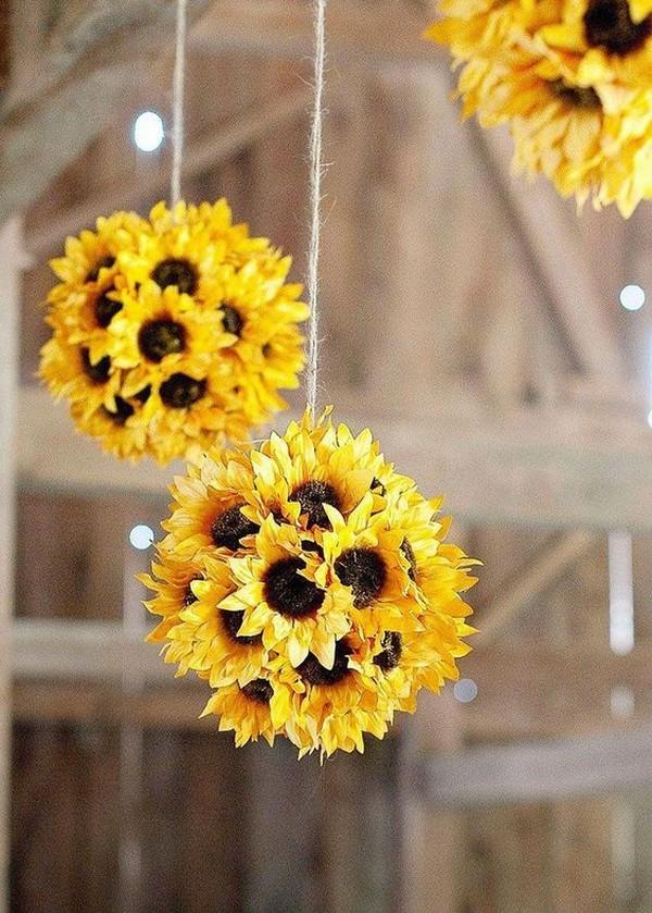 budget friendly hanging sunflower wedding decorations