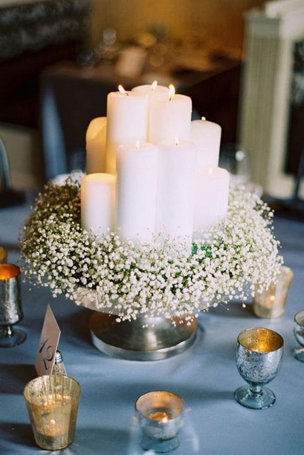 budget friendly wedding centerpiece with baby's breath and candles