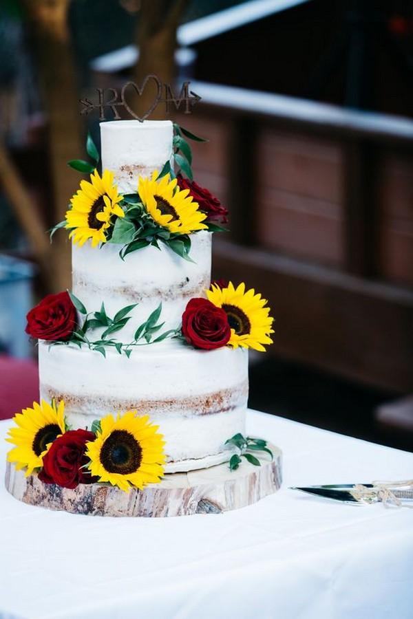 burgundy and yellow sunflower wedding cake