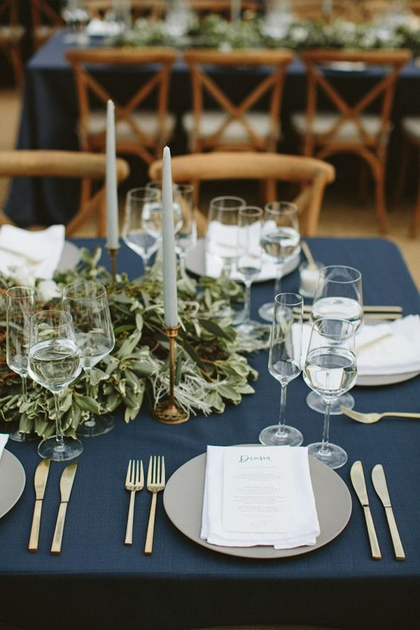 chic navy blue and greenery wedding table settings