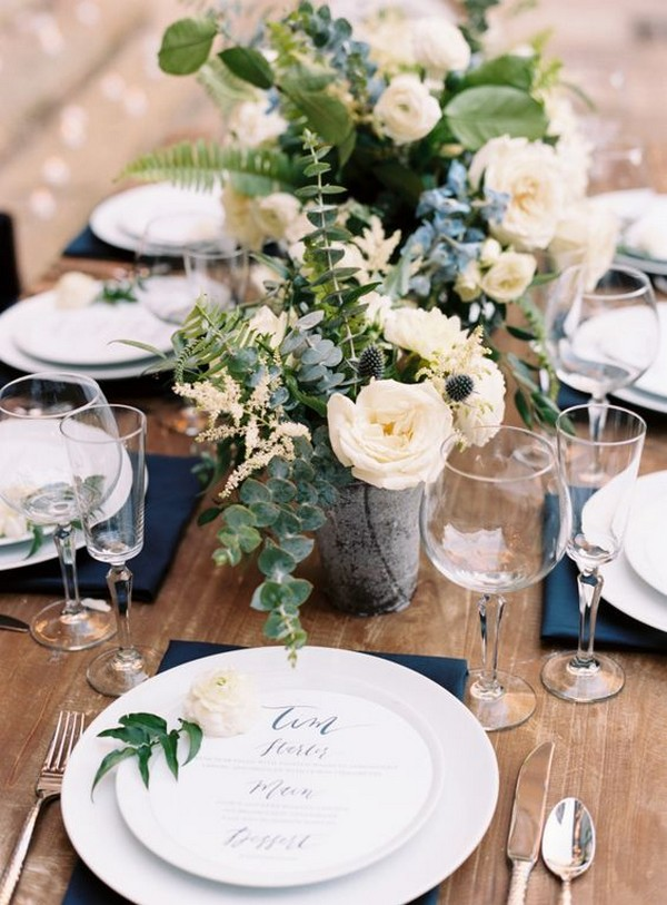 chic rustic blue and green wedding table setting ideas