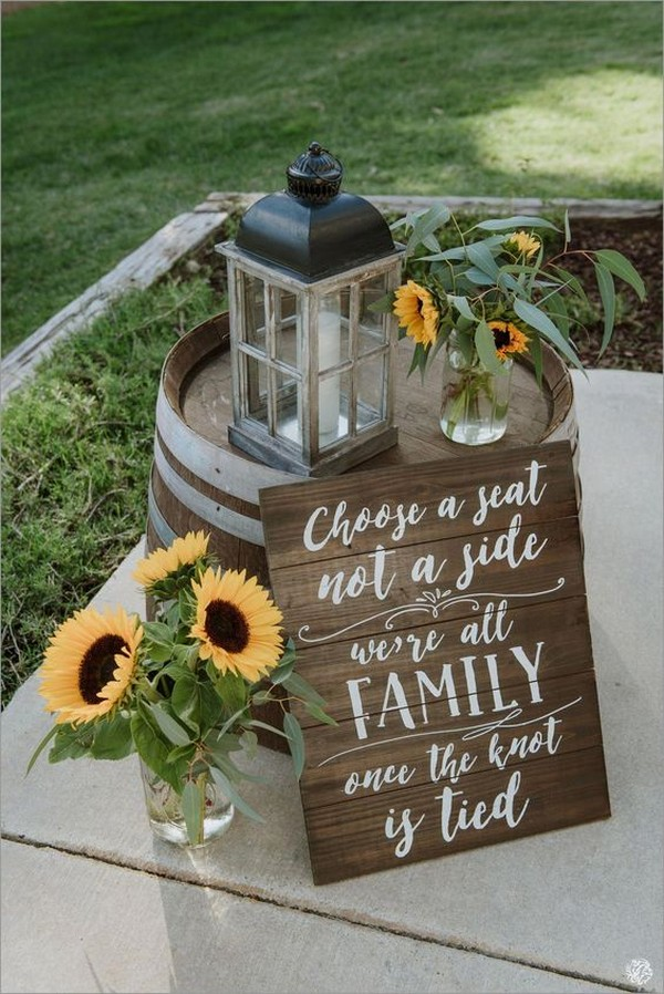 chic rustic wedding decoration ideas with sunflowers