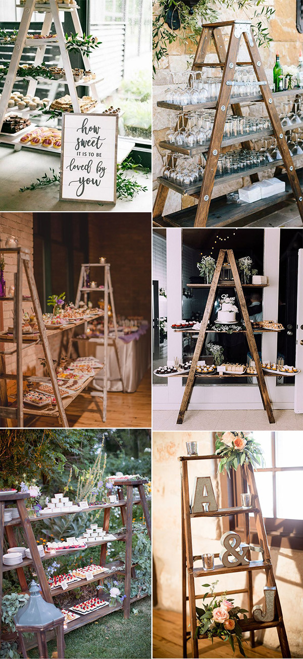 chic vintage food and drink display ideas with ladders