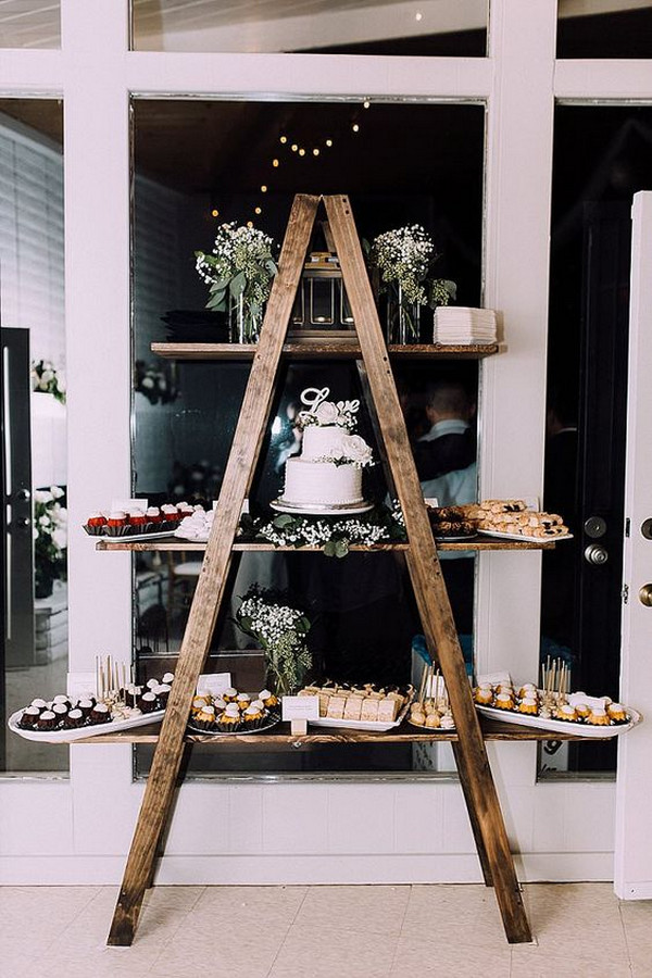 chic vintage wedding dessert display ideas