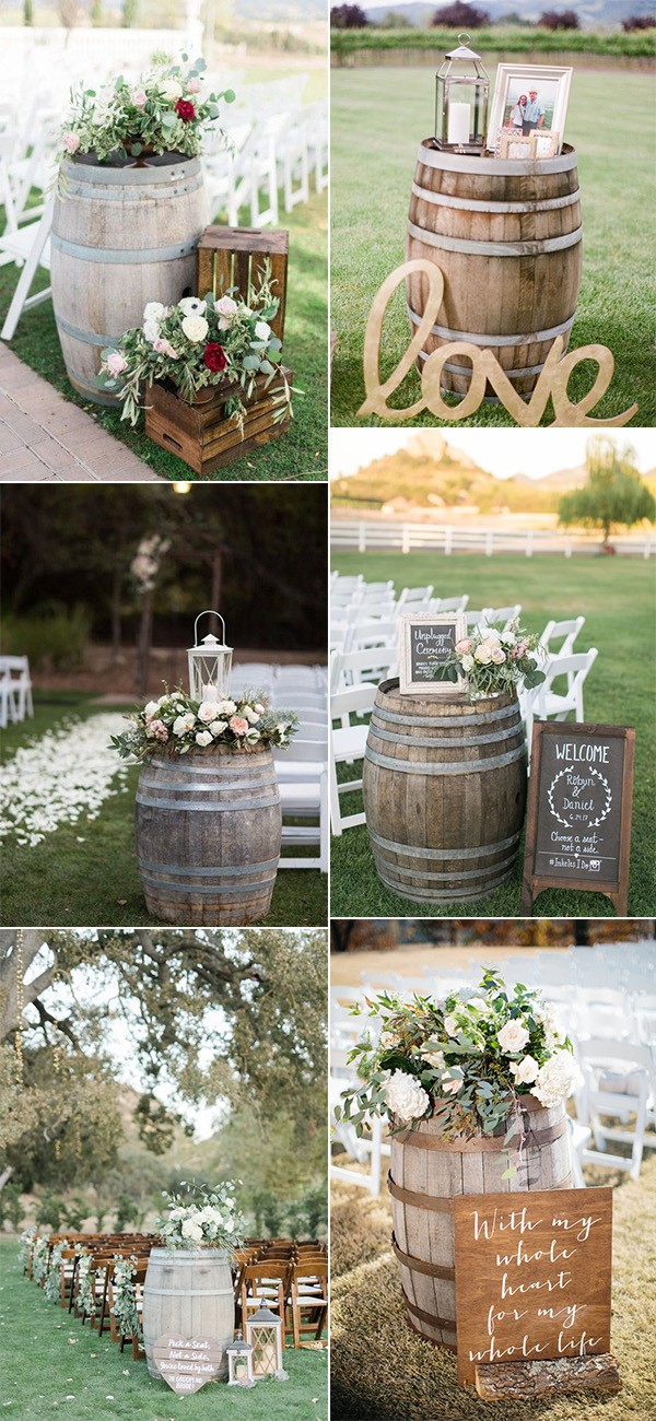 country wedding ceremony decoration ideas with wine barrels