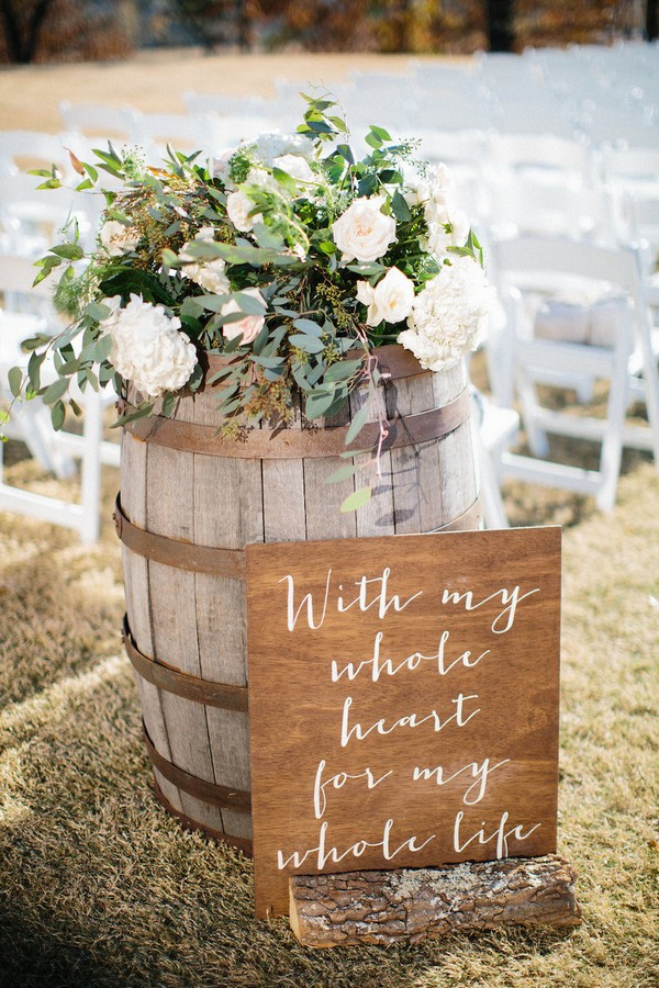 country wedding ceremony ideas with wine barrels