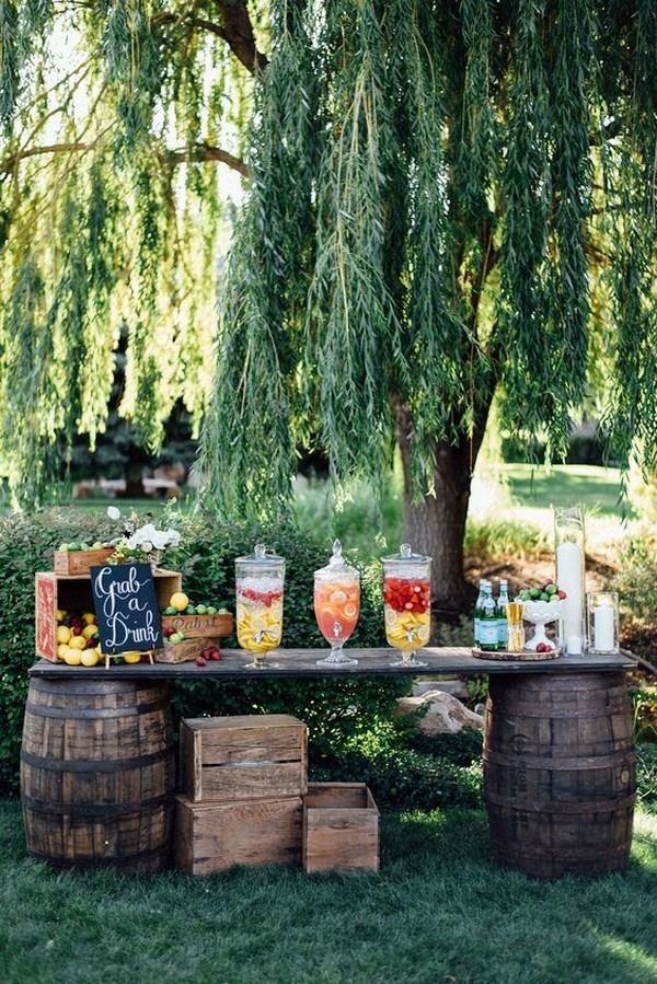 country wedding drink bar with wine barrels