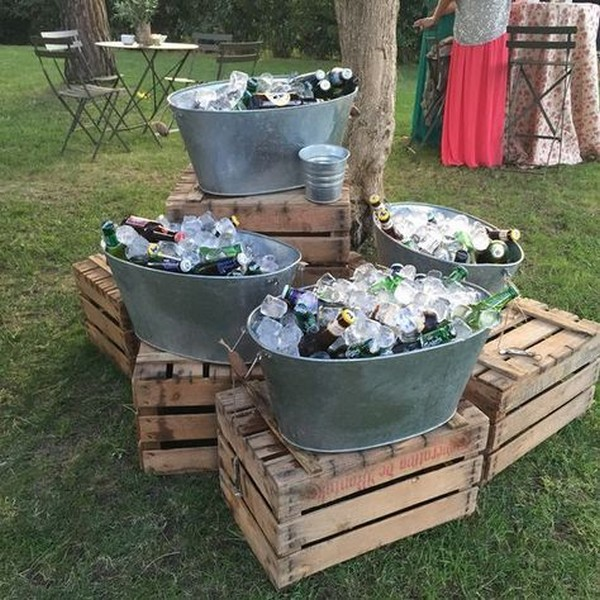 diy buckets wedding drink station for backyard weddings