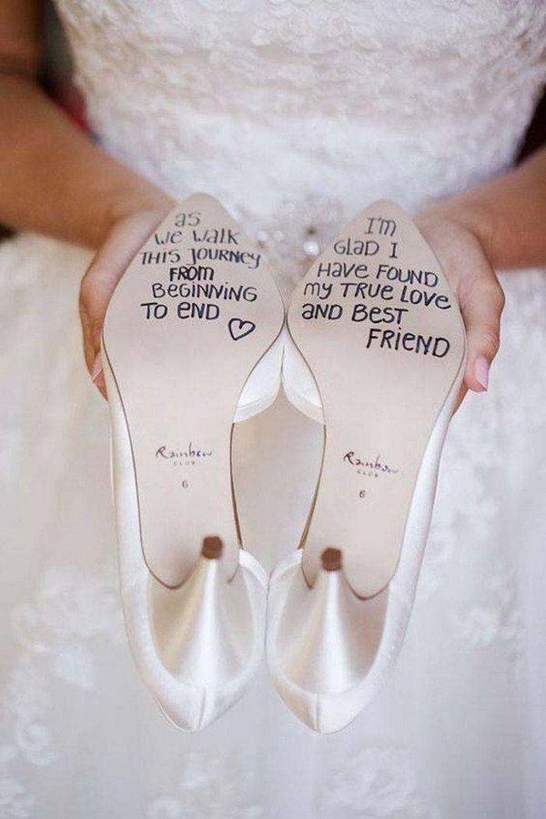 hand writing on wedding shoes