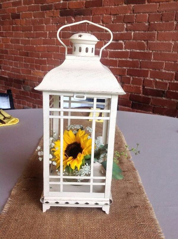 lantern wedding centerpiece with sunflowers