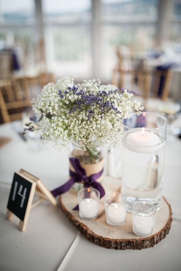 lavender and baby's breath wedding centerpiece