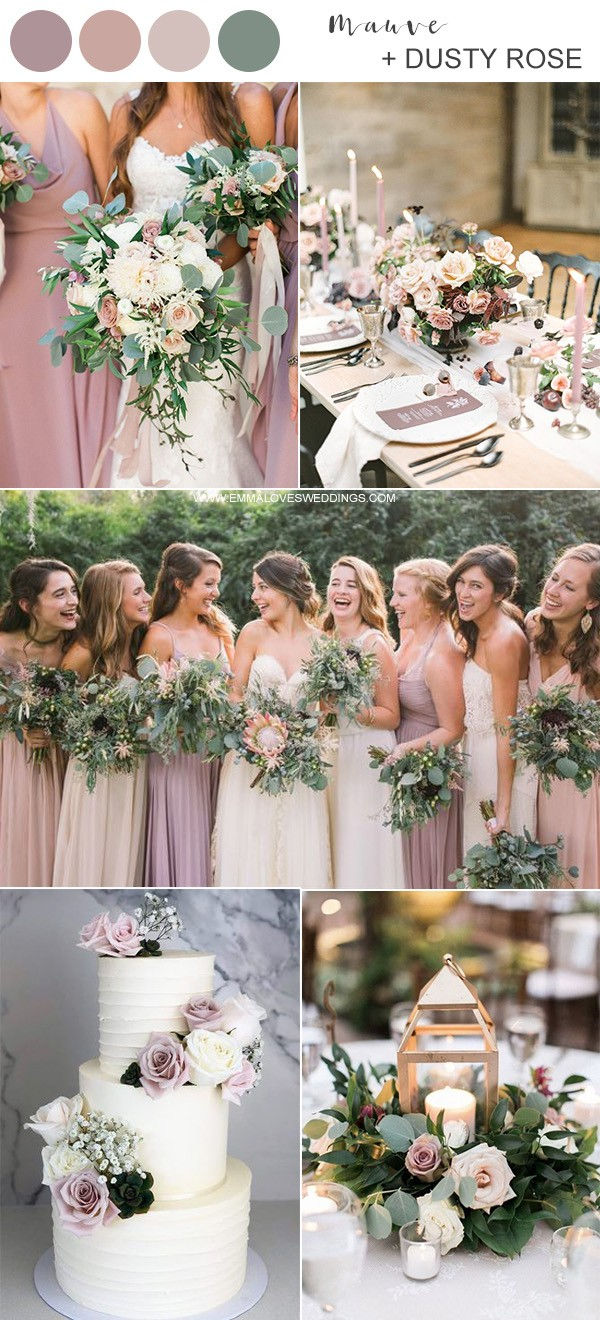 mauve and dusty rose wedding color ideas