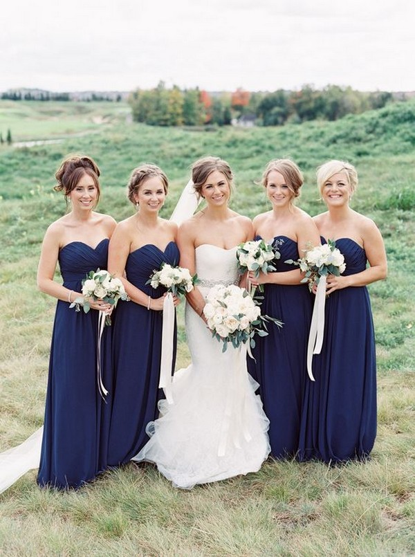 navy blue bridesmaid dresses sweetheart