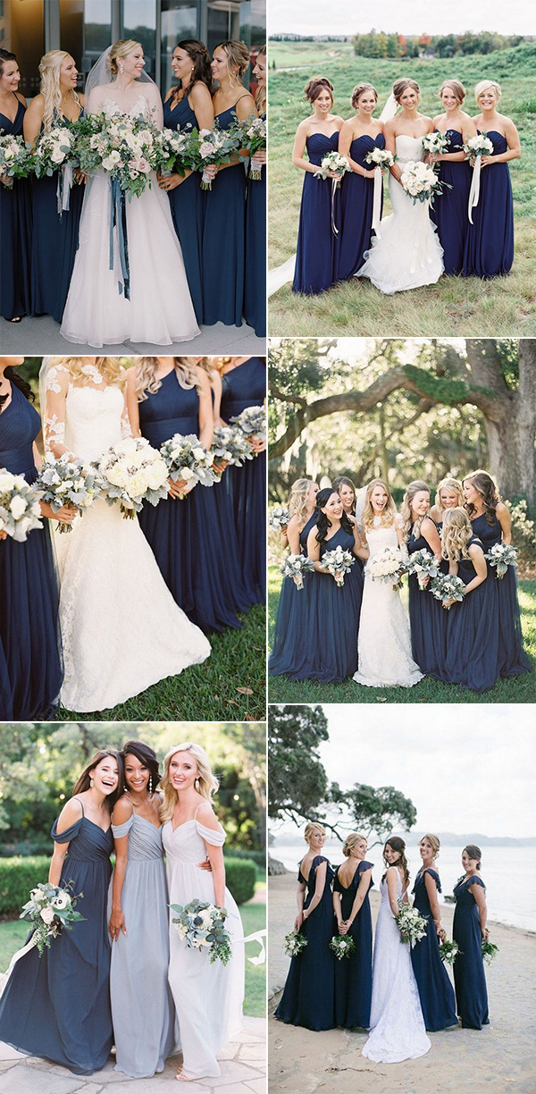 navy blue bridesmaid dresses with green bouquets wedding ideas
