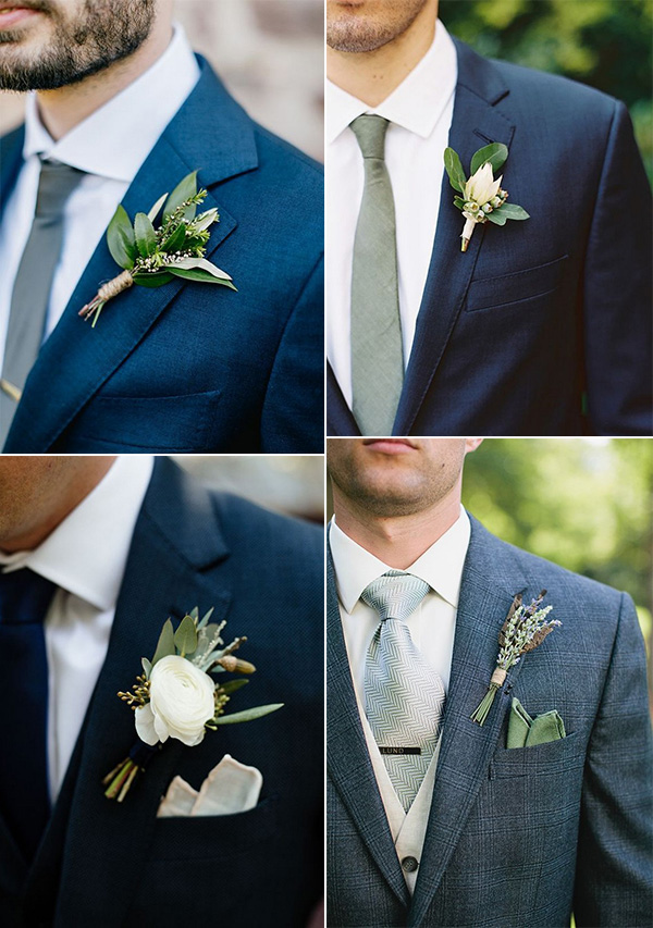 navy blue groom suit with green boutonniere wedding ideas