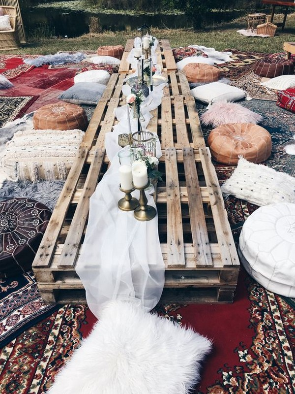 outdoor bohemian beach wedding reception ideas
