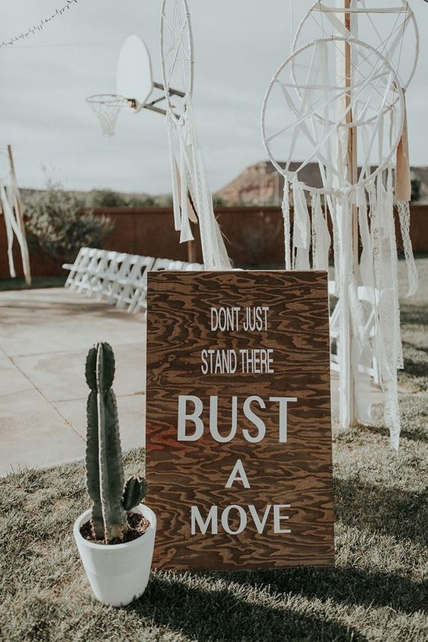 outdoor bohemian wedding sign ideas