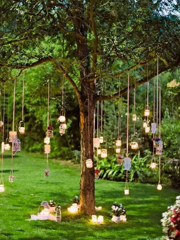 outdoor hanging lights boho wedding decorations