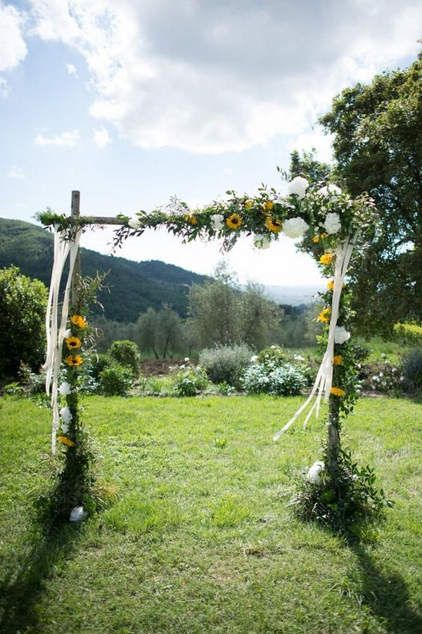 outdoor rustic sunflower wedding arch ideas