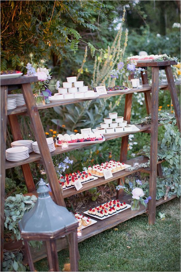 outdoor wedding dessert display ideas with vintage ladders