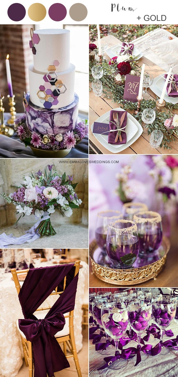 plum purple and gold wedding color ideas
