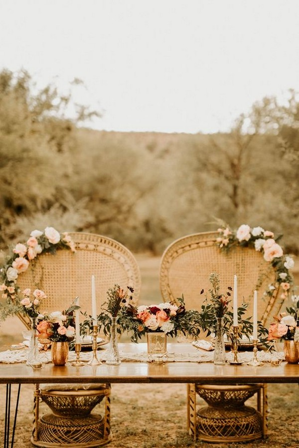 romantic bohemian inspired wedding table decoration ideas