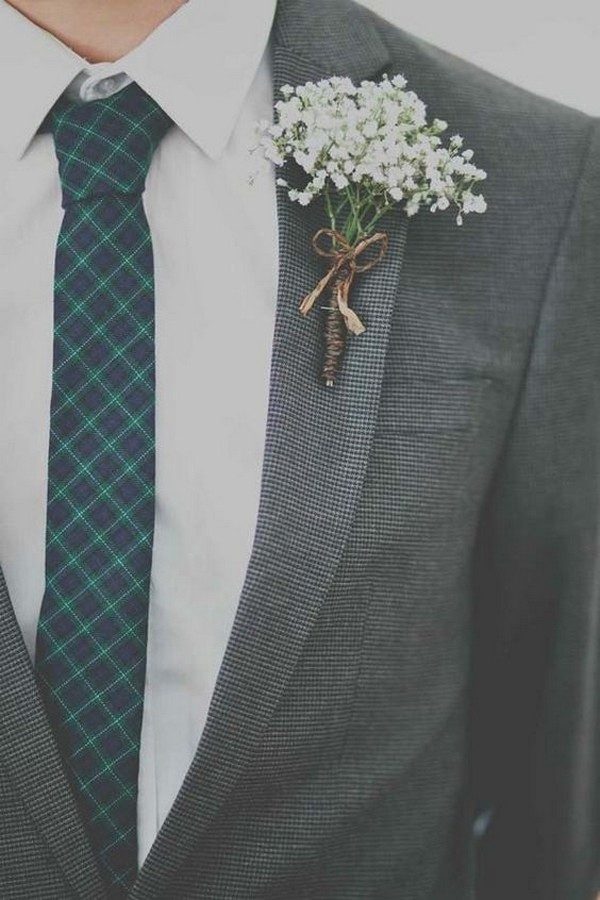 rustic baby's breath wedding boutonniere with burlap