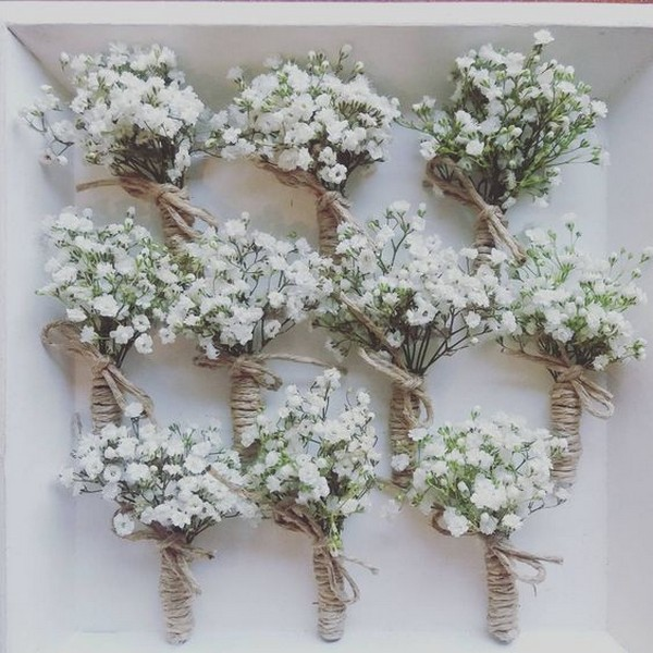 rustic baby's breath wedding boutonniere