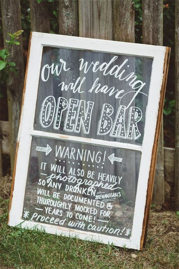 rustic backyard wedding sign ideas