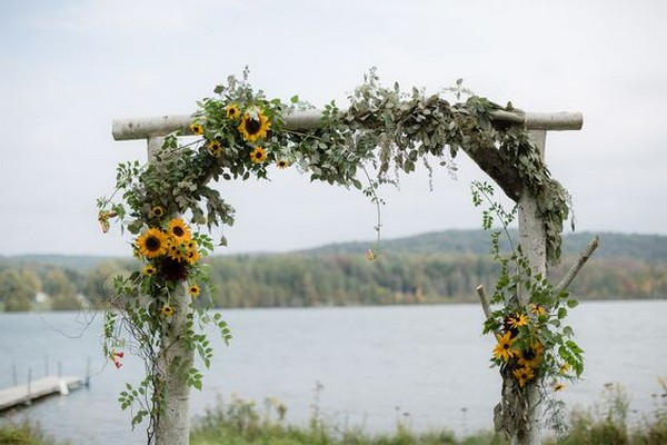 rustic sunflower wedding arch ideas