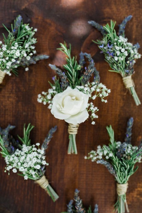 rustic wedding boutonniere with baby's breath