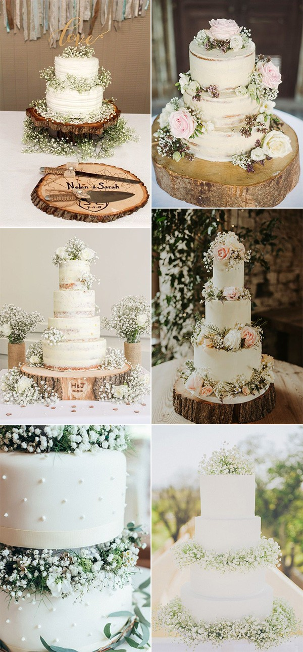 rustic wedding cakes with baby's breath