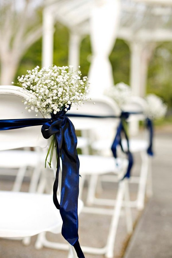 rustic wedding ceremony aisle decoration ideas with baby's breath and navy blue ribbon