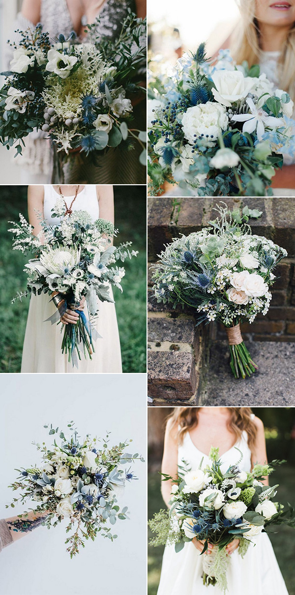 shades of blue and green wedding bouquets ideas