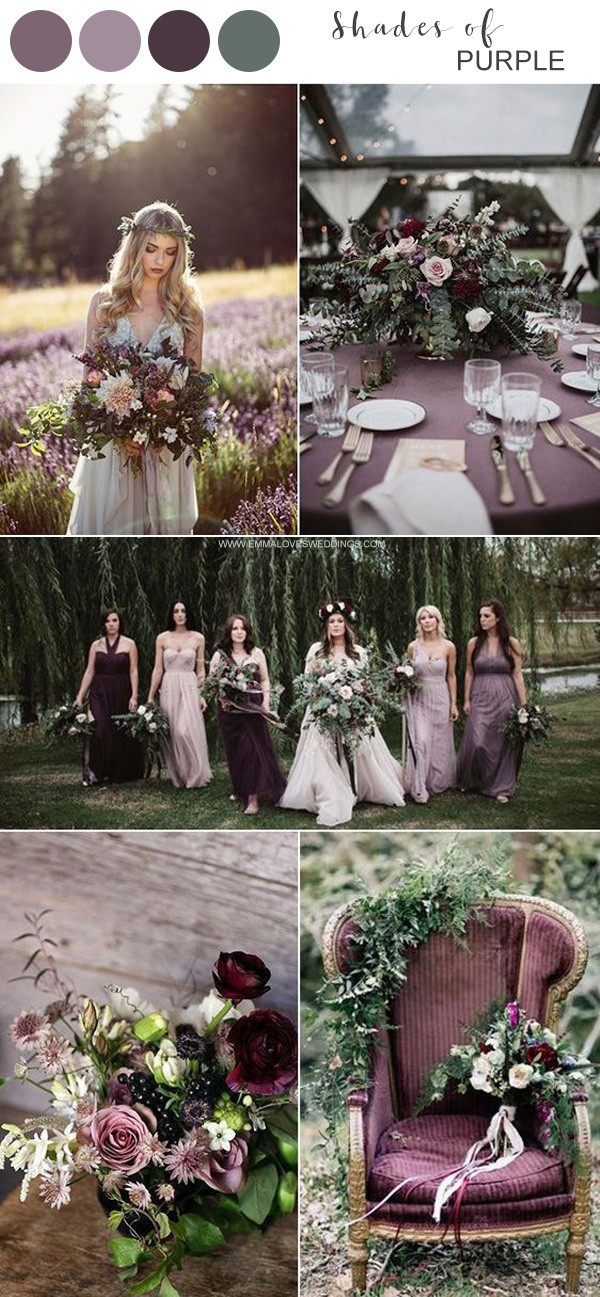 shades of purple wedding color ideas