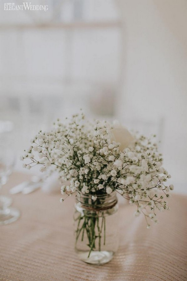 simple rustic wedding centerpiece with baby's breath