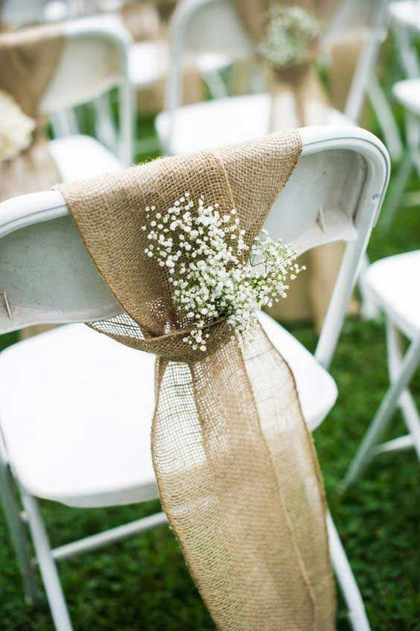 simple rustic wedding chair decoration ideas with burlap and baby's breath